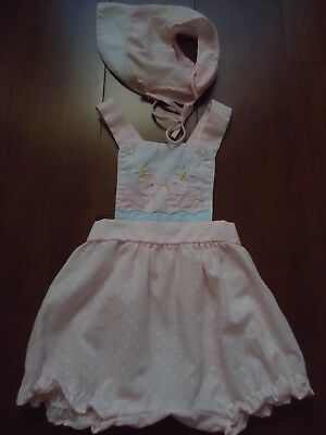 Vintage Infant Baby Girl Cradle Togs Romper Sunsuit Matching Bonnet See Measur.