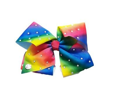 Large 8 Inch Beautiful Rainbow Ribbon Hair Bow / Clip Star Studded Summer UK