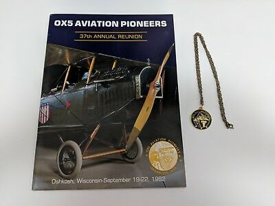 OX5 Aviation Pioneers 37th Reunion Signed Book Oshkosh WI 1992& Pendant Necklace