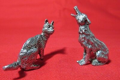 Pair Of Pewter  Coyote  Figurines