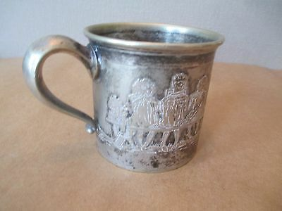 Antique Victorian silver Nursery Rhyme Baby / Child Cup - Kids RARE hard to FIND