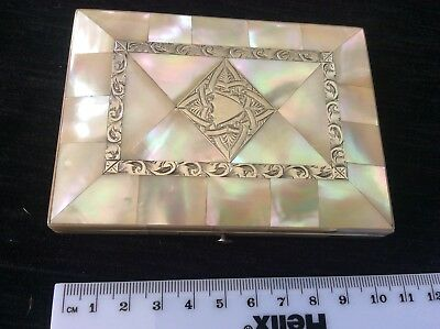 Mother Of Pearl  Silver Victorian Card Case