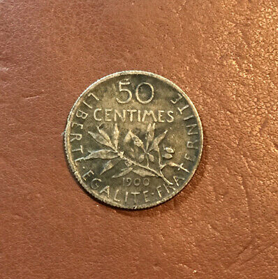 French Silver Coin 50 Centimes 1917 (0.835)