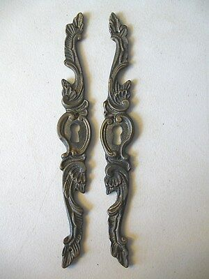 (2) Antique / Vintage -- Furniture Keyhole Decorations / Covers -- Solid Brass