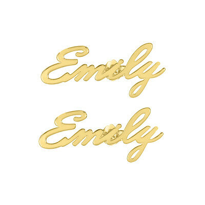 Personalized Sterling Silver and Gold Plated Stud Name Earrings Script Woman's