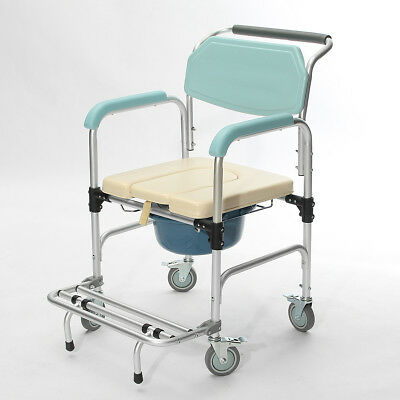 3-In-1 Commode Wheelchair Bedside Toilet  Shower Seat Bathroom Rolling Chair