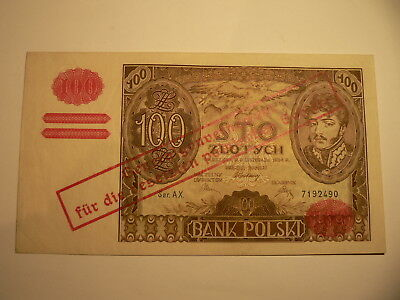Banknote Polen  100 Zlotych  Generalgouvernement