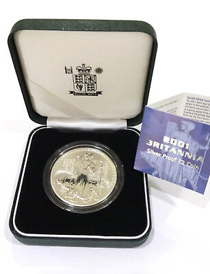 2001 Royal Mint Britannia $2 Two Pound Silver Proof 1oz Coin, Boxed with COA