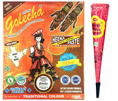 Golecha Natural Colour Henna Cones Temporary Tattoo Body Art Mehndi Cone Halal