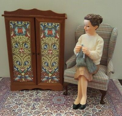 Dollhouse miniature OOAK decorated wood armoire/cabinet, 1:12