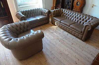 Antik Alt Chippendale Sitzgarnitur Leder Sessel Chair English Couch Rare