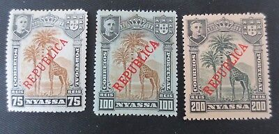 Nyassa 1911 Overprinted Stamps SC #57-59 MHNG Portugal Colony Camels