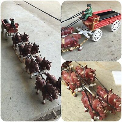 Vintage Cast Iron Horse-Drawn Wagon Display-  8 Clydesdales -No Barrels In Wagon