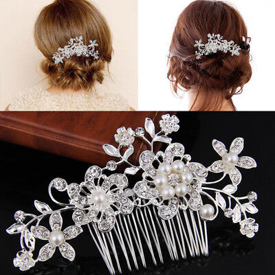 Wedding Bridal Flower Hair Comb Diamante Crystal Rhinestone Clip Slide Jewel*.~