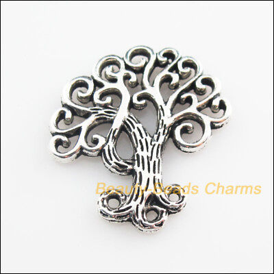 4Pcs Tibetan Silver Tone Flower Branch Leaf Tree Charms Pendants 26.5x28.5mm