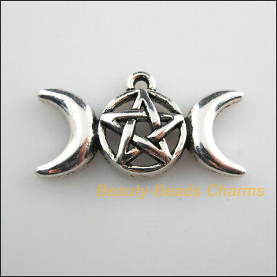 4Pcs Tibetan Silver Tone Star Moon Round Charms Pendants 15.5x30mm