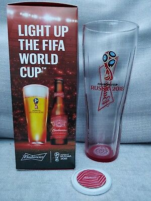 Russia World Cup 2018 Budweiser Limited Edition Pint Glass And Light Up Coaster