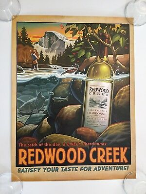 "NEW FREI BROS. REDWOOD CREEK Wine Poster 2008 Catch of the Day 18"" x 24"""