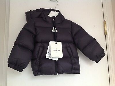 e45c7c80ca73 MONCLER BABY BOY Down Feather Navy Blue Winter Coat Size 6 9 Months ...