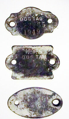 3 pc Antique Vintage Dog Licenses Tags New York  NY Old Patina Toys Used 40s
