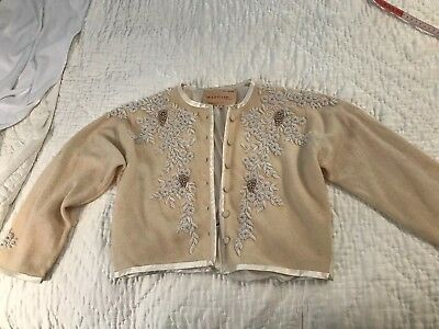 vintage 1950s BEADED WOOL CARDIGAN SWEATER rhinestones Mayfair Tailors Hong Kong
