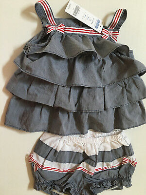 $45 GYMBOREE Infant Baby Girl Summer Set Gray White Red Bows Size 12-18 NWT