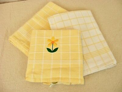 OLIVE & THYME Kitchen Dish Towels Yellow & White Check Cotton, Set of 3
