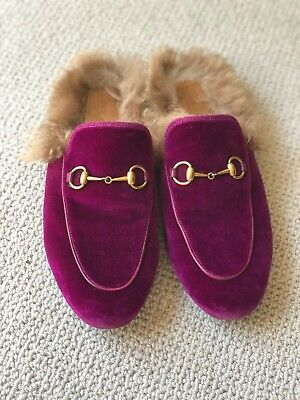 ceb461a88 Gucci Princetown Fur-Lined Mules 39 Purple/Pink Velvet Authentic Pre-Owned