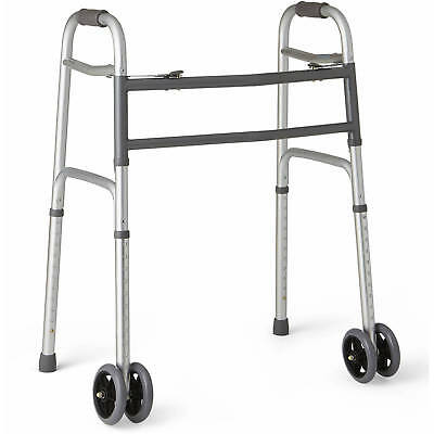 "Extra-Wide Bariatric Walker with 5""  Dual Wheels, Heavy Duty Aluminum Frame New"