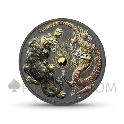 AUSTRALIA 2018 1$ TIGER & DRAGON 1oz 4 METAL: GELB-, ROSAGOLD, SILBER, RUTHENIUM