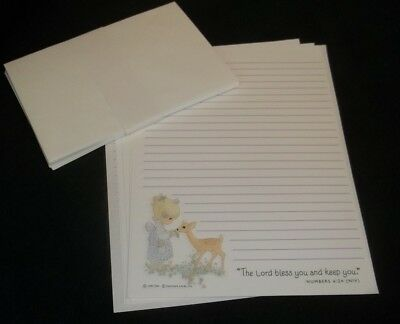 """Darling Hallmark Precious Moments stationery w/envelopes """"The Lord bless you.."""""""