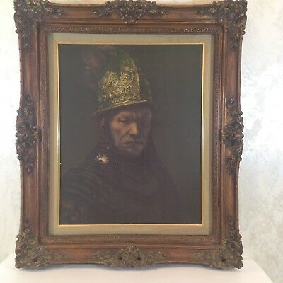 Vintage Ornate Wood Frame Reproduction Portrait Print Medieval Style 27x23x2.5""