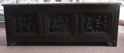 Scottish Heavily Carved Beautiful Oak Blanket Chest Coffer After James the II