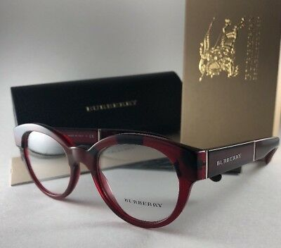 b1a68bbc0b49 New BURBERRY Eyeglasses B 2209 3591 Red Horn Stylish Bordeaux Frame 51-20  140