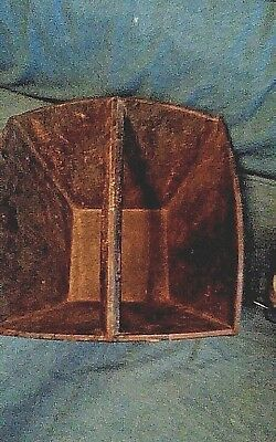 Primitive Antique Asian Chinese Wood Rice Grain Harvest Bucket Basket w/ Handle