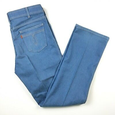VINTAGE 70s Mens Levis 36x32 ORANGE TAB JEANS With A Skosh Blue Made In USA
