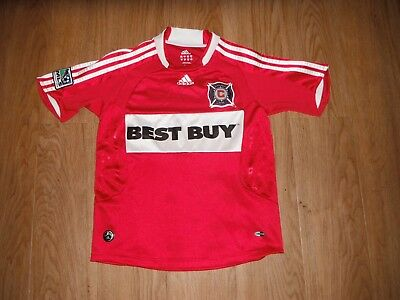 5169b00e212 Vtg Chicago Fire ADIDAS Clima Cool Football Soccer Jersey Youth SMALL MLS  League