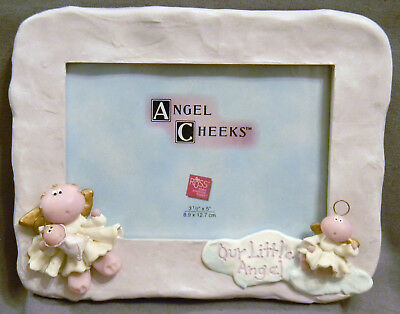3D Angel Cheeks by Russ Berrie Picture Frame Baby Neutral Soft Plum Color 6""