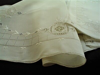 Antique Hand Embroidered 9 pc  Placemats & Runner Set Italian Church Linen