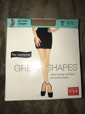 5c966b4c5 No Nonsense Great Shapes All Over Shaper Pantyhose Size E Beige Mist 7JI  Sealed