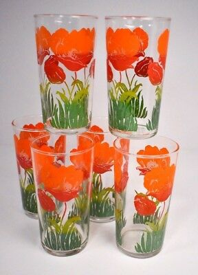Set of 6 - 1960s Vintage 'Swanky Swig' Glasses Tumblers - Shades of Red & Green