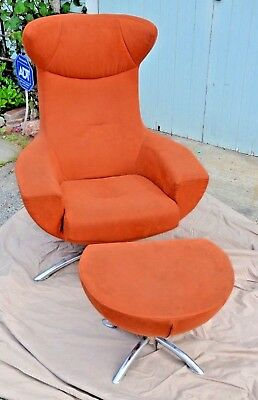 Mid Century Modern Vintage Suede Egg Chair, By Arne Jacobsen? For Fritz  Hansen?