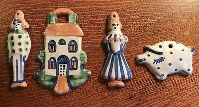 Vtg Lot 4 MA Hadley Ceramic Christmas Tree Ornaments Farmer Wife House Pig Paint