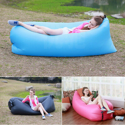 Air Bed Sofa Inflatable Camping Beach Couch Lounger Lazy Sleeping Pump Bag NEW