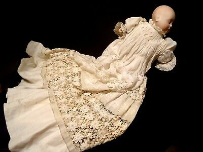 Antique Crochet Christening Long Gown Baby Doll