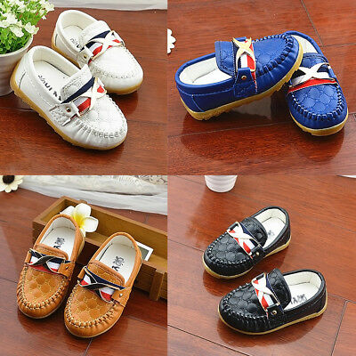 Kids PU Soft Shoes New Toddler Girls Slip on Fashion Loafers Flats Casual