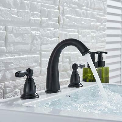 LED Widespread Bathroom Basin Faucet Oil Rubbed Bronze Waterfall Sink Mixer Tap