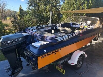 4.88m family boat 50hp two stroke 12 months reg both boat and trailer