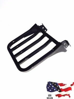 Black Harley Luggage Rack Dyna Backrest Sissy Bar Super Wide Glide Rear Carrier