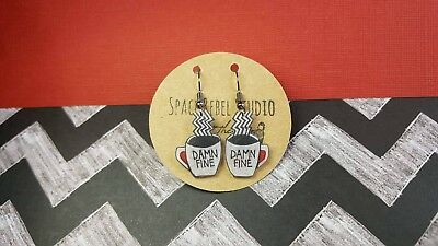 DAMN FINE COFFEE Earrings~Chevron~Twin Peaks~Jewelry~David Lynch~Agent Cooper~